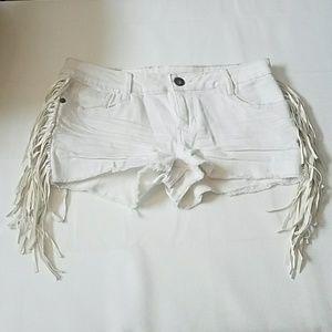 1st Kiss White Jean Shorts w/ Faux Leather Fringe